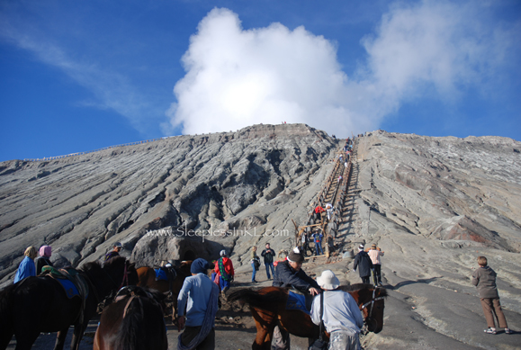 concrete stairs going up Mt Bromo